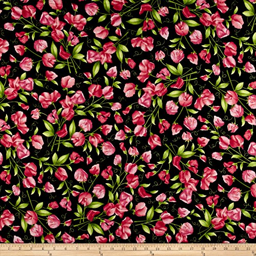 Maywood Studio Sweet Pea Flannel Sweet Pea Floral Black Fabric By The Yard (Flannel Maywood Studios)