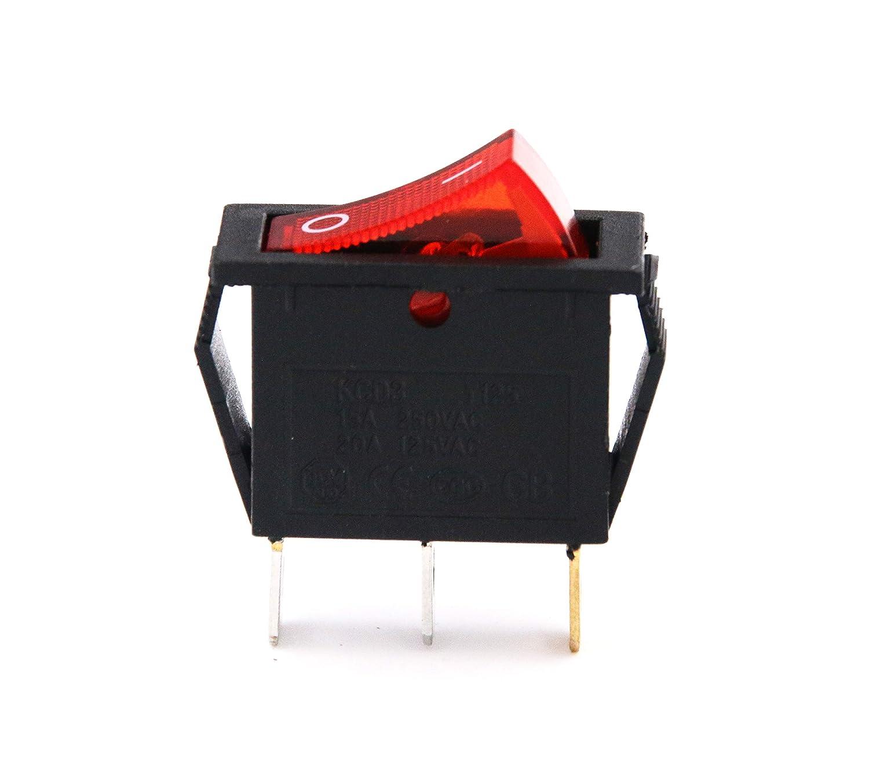 15A 250V//20A 125V 3 Pin AC Rocker Switch KCD3 Switch 5 Pcs Generic 5559008921