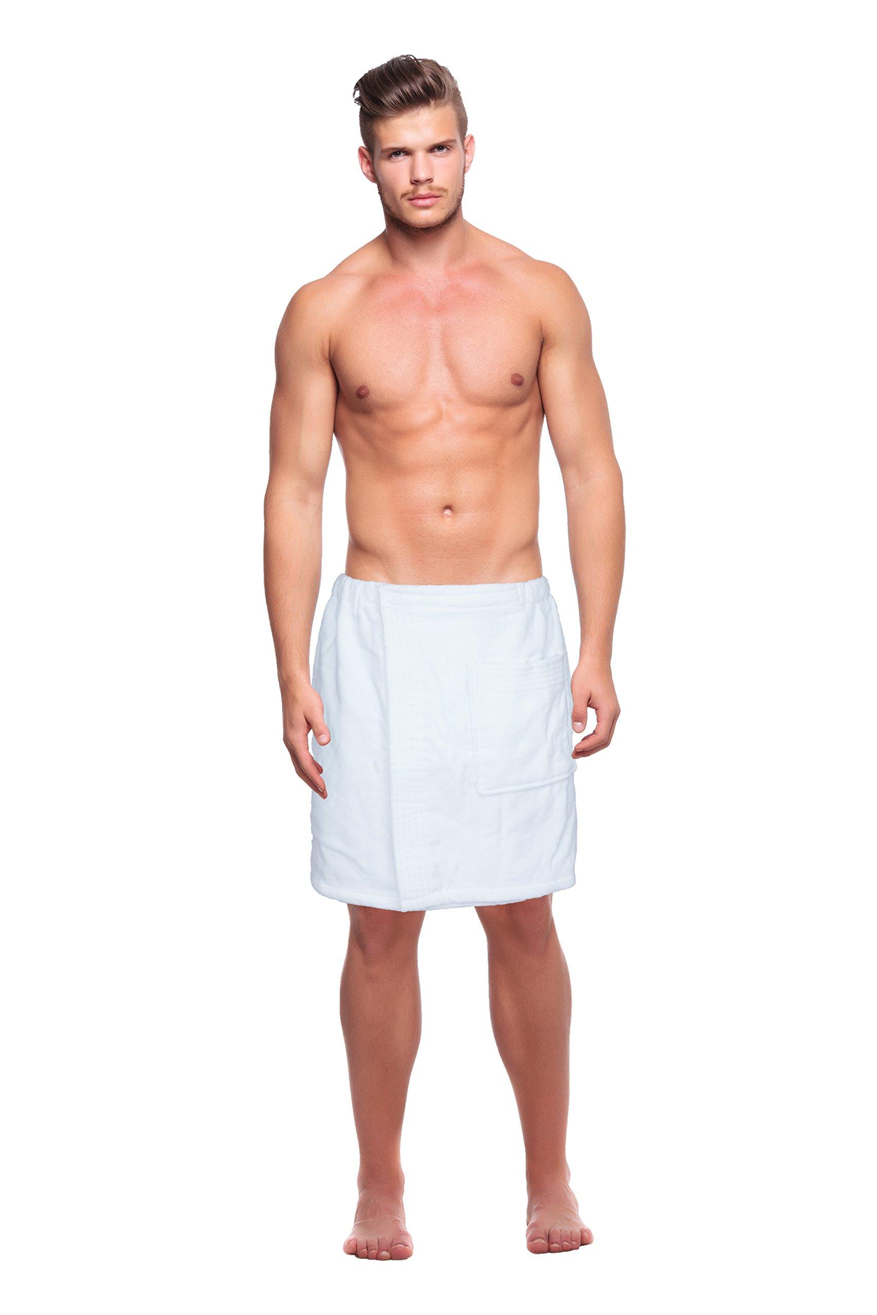 Silken Men's 100% Cotton Towels Terry Velour Body Wrap Fitness Bath Spa Pool Towel w/Adjustable Velcro (White)