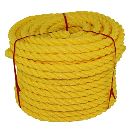Oil Chemical Golberg Twisted Polypropylene Rope Marine Rot Resistant Moisture Nautical - Yellow, 3//8 Inch x 250 Feet
