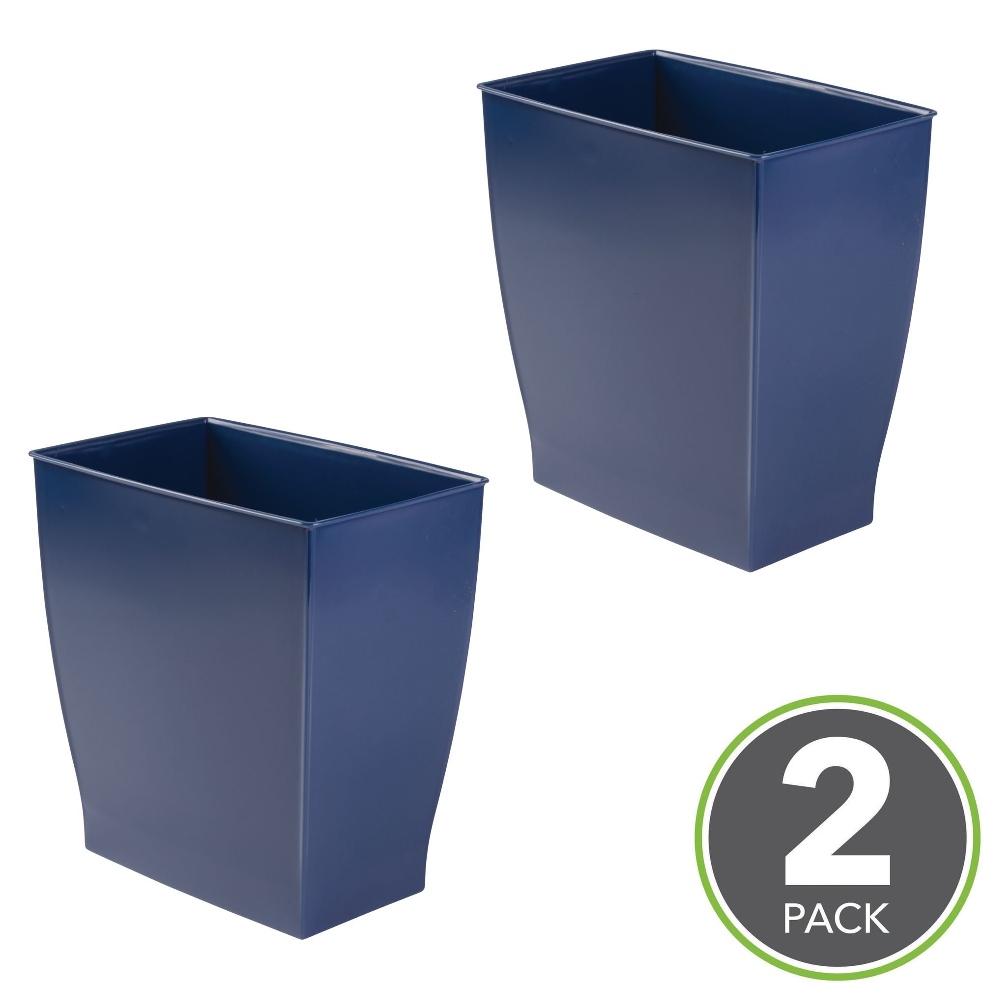 mDesign Rectangular Trash Can Wastebasket, Small Garbage Container Bin for Bathrooms, Powder Rooms, Kitchens, Home Offices - Pack of 2, Shatter-Resistant Plastic, Navy Blue