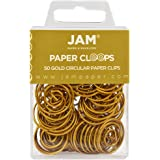 JAM Paper Papercloops - Round Circular Paperclips - Gold - 50/pack