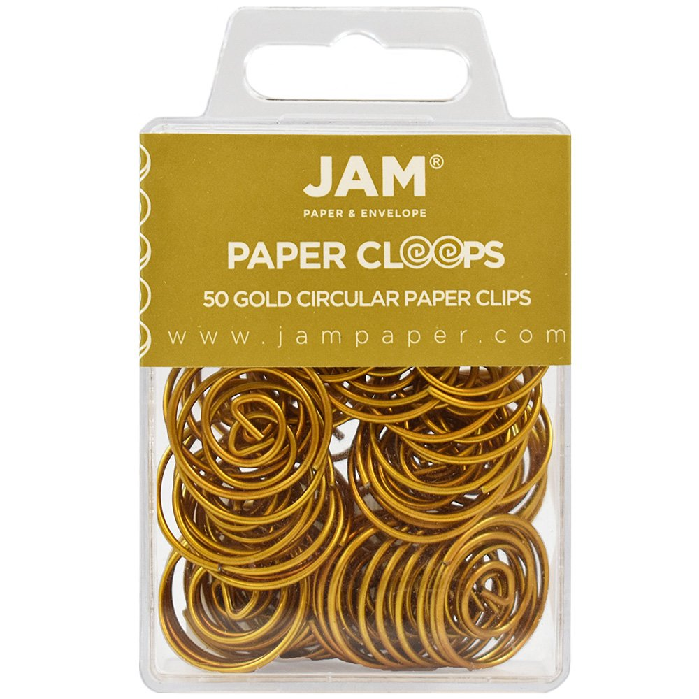 JAM Paper® Papercloops - Round Circular Paperclips - White - 50 Clips per Pack