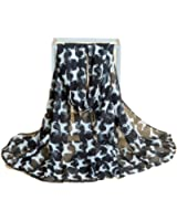 Women Fashion Oversize Dog Print Soft Scarves Oblong Shawl for Dog Lovers