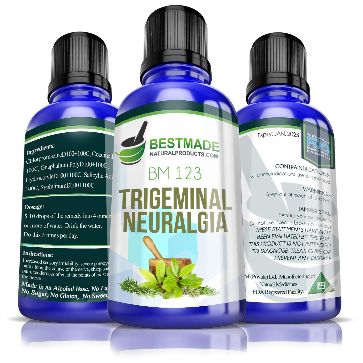Trigeminal Neuralgia BM123, 30mL, A Natural Remedy for Tic Delarue Helps Control Episodes of Face or Jaw Nerve Pain, Does Not Cause Drug Interactions, No Side Effects, Provides Non Drowsy Relief by Bestmade Naturalproducts.com