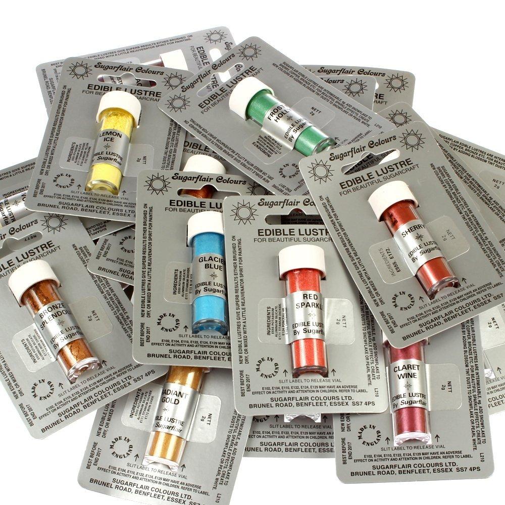 35 Sugarfalir Edible Lustre Dust Colours & 20ml CA Edible Glue