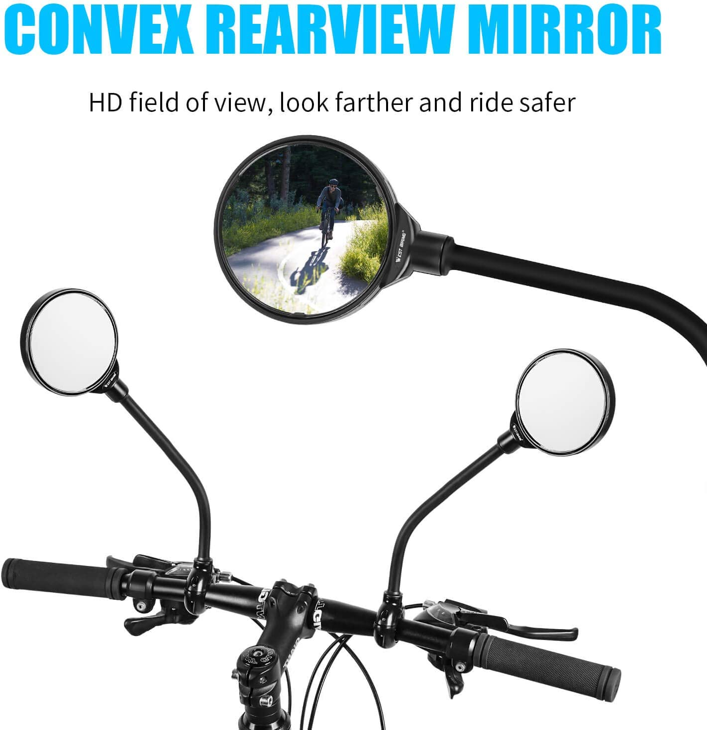 1pcs Bicycle Cycling Rear View Mirrors Rotatable Handlebar Mounted Convex Mirror