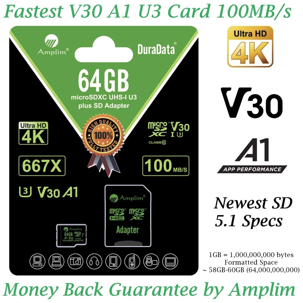 64GB Micro SD Card Plus Adapter - Amplim V30 A1 100MB/s 667X 64 GB MicroSDXC Memory Card Pack (Class 10 U3 UHS I TF XC) MicroSD SDXC Card - Cell Phone, Drone, Camera, GoPro Hero, Fire, Nintendo, DJI by Amplim