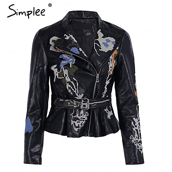 Floral Embroidery Leather Jacket Women Motorcycle Zipper Faux