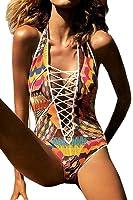 Carprinass Women's Sexy One Piece Monokini Cut Out Bandage Swimsuit Swimwear
