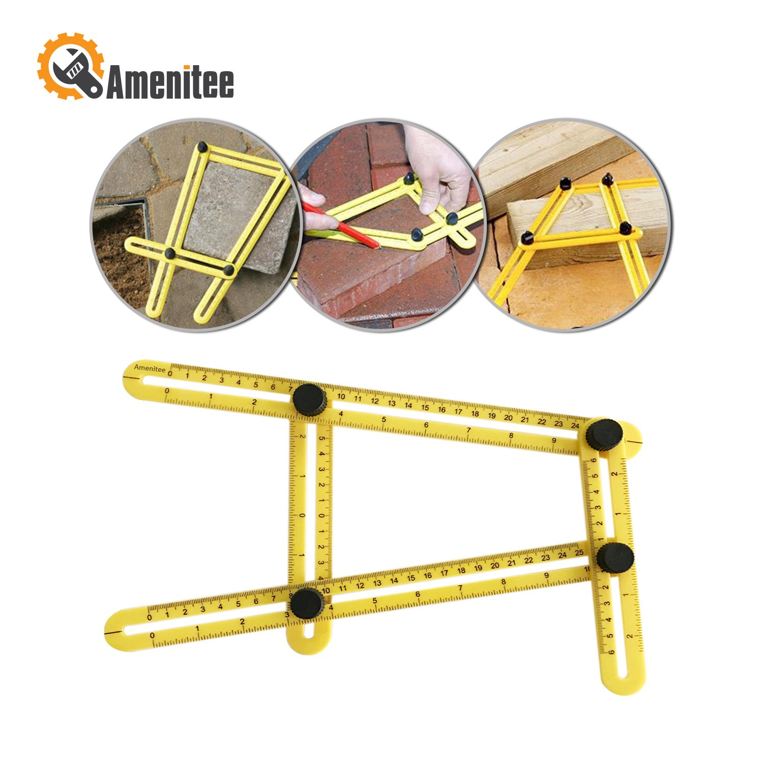 Amenitee Ultimate Irregular Shape Copy Tool - Universal Angularizer Ruler - Easy Angle Ruler-Multi Angle Measuring Tool-Embedded ABS Bolts and Nuts-Ultimate Template Tool(Yellow)