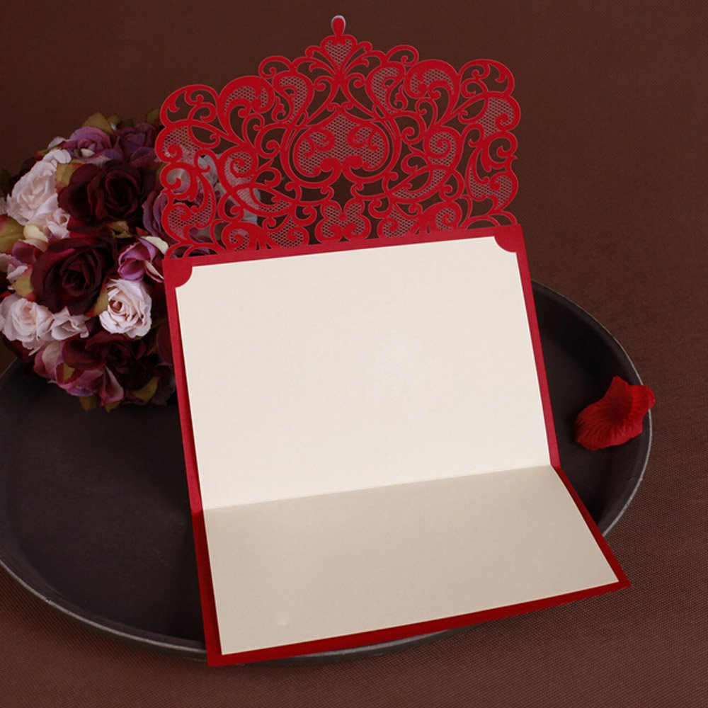 Amazon.com: WOMHOPE® 50 Pcs - Classic Red Color Laser Cut Lace Card ...