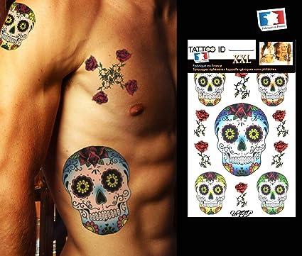 Tatouage ephemere temporaire CALAVERA Têtes de mort mexicaine TATTOO ID XXL  hypoallergénique Fabriqué en FRANCE 1