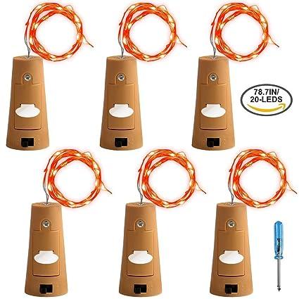 Romer 6 pcs corcho luces con destornillador, botella luces de ...