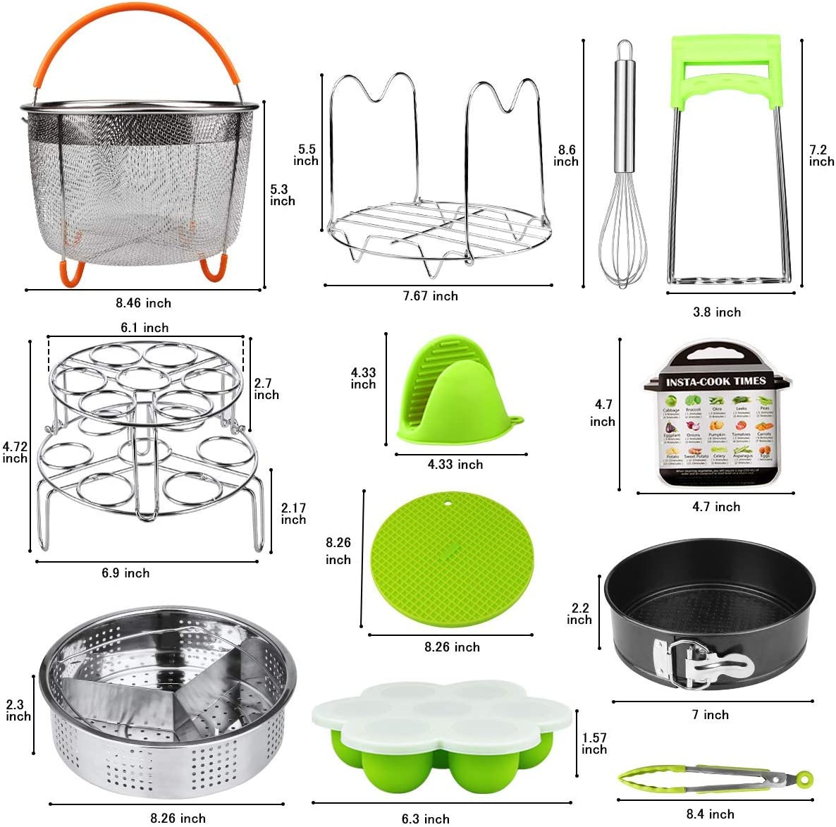 2 Silicone Trivet Mats 2 Steamer Baskets Egg Beater Stackable Egg Steamer Rack Springform Pan Aiduy 18 pieces Pressure Cooker Accessories Set Compatible with Instant Pot 6,8 Qt Renewed