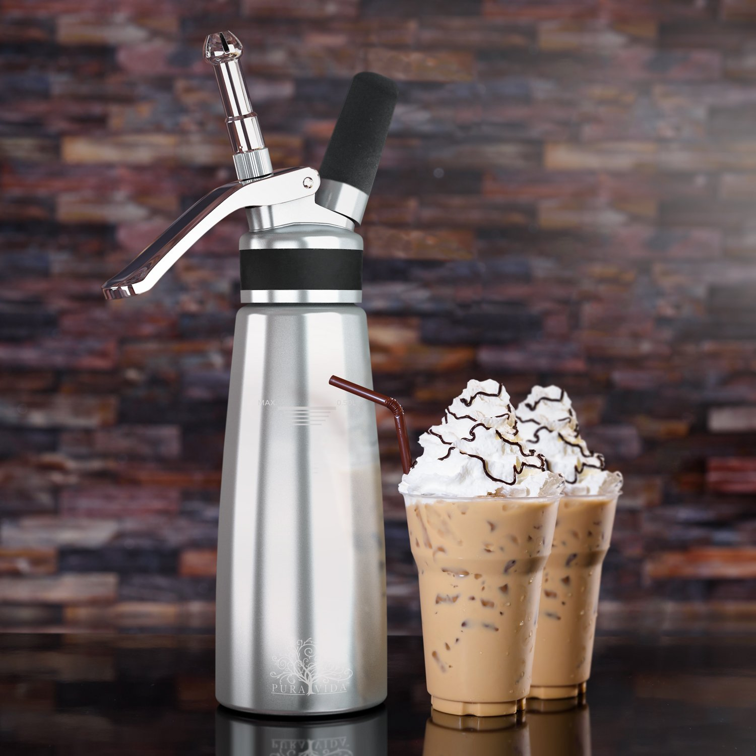 Whipped Cream Dispenser By Pura Vida – Durable, All Aluminum Body & Head – 3 Stainless Steel Decorating Tips & A Brush – Half Quartz Size – Dishwasher Safe – Gift Box Packaging – Easy Instructions