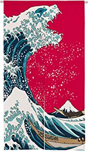 """Ofat Home Japanese Hokusai Noren The Great Wave Painting and Godzilla Artistic Doorway Curtain 33.5""""x 59"""" Door Curtain for Home Decor Gift"""