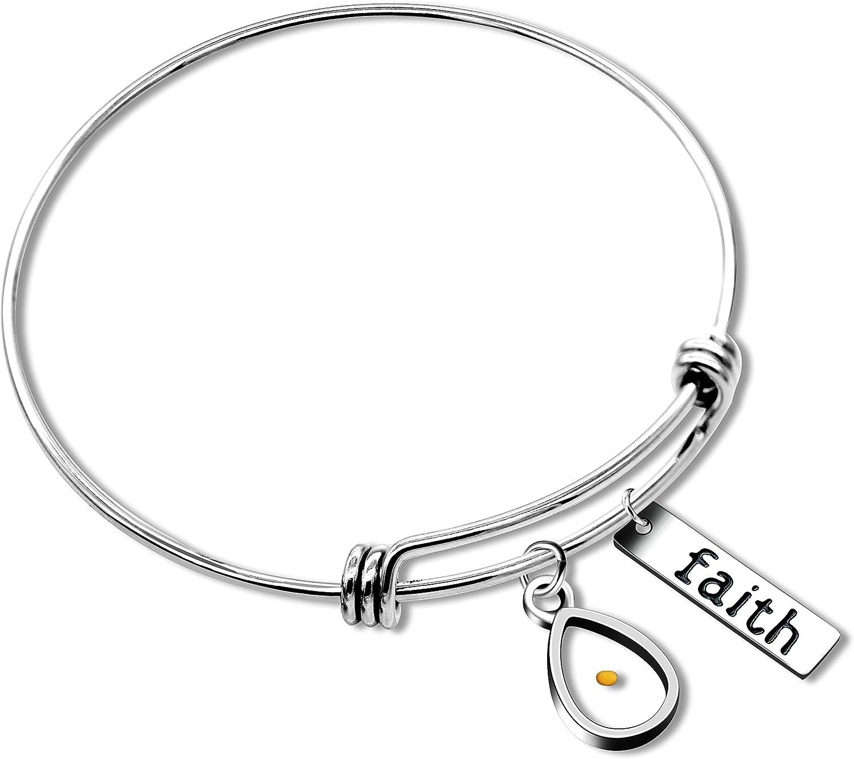Uloveido Stainless Steel Faith Bangle RealMustardSeedBracelets Charm JewelryforChristian InspirationalGift Y558