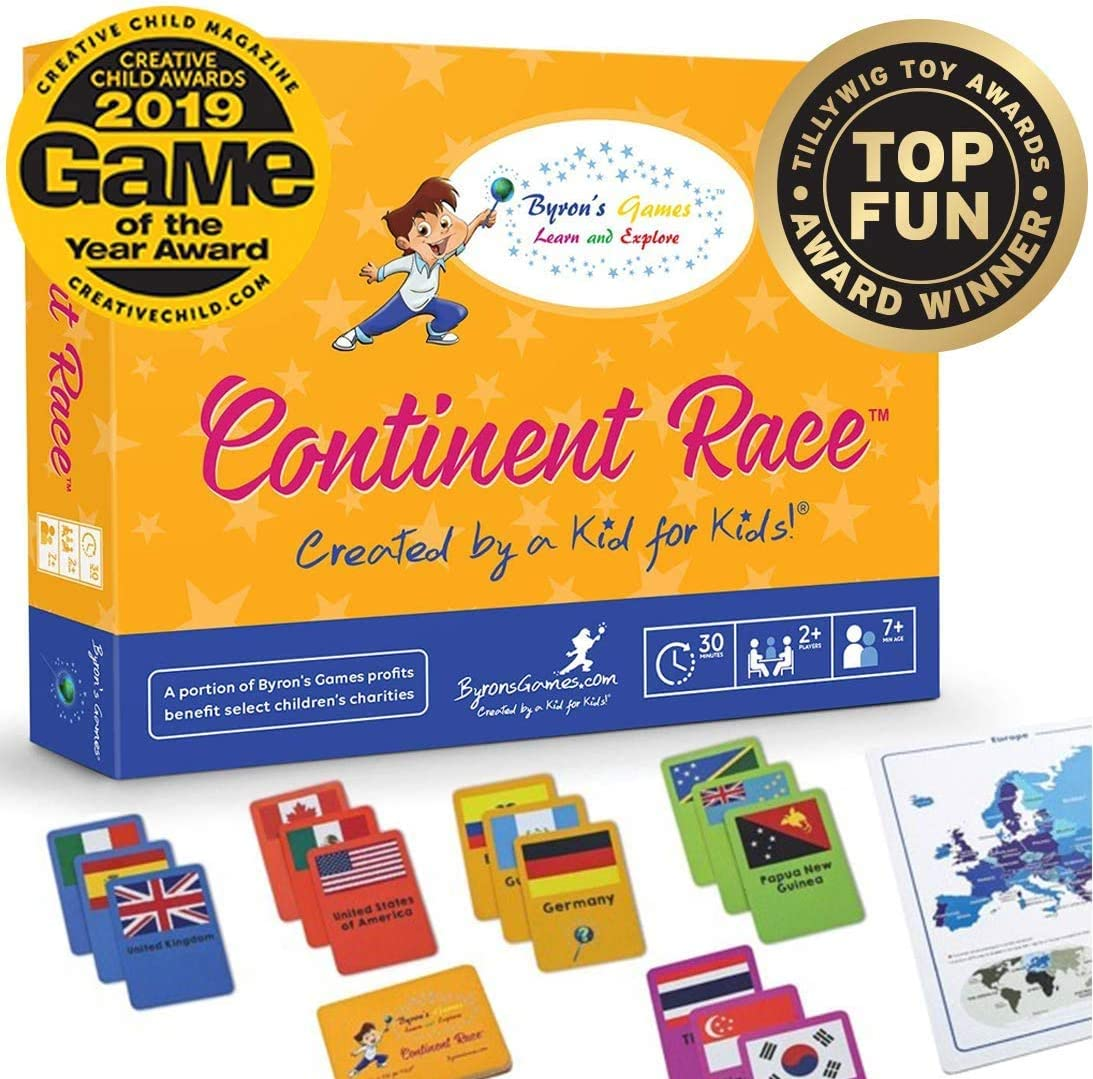 Continent Race Geography for Kids Card Game - Kids 7+ Award Winning - Learn Continents & Countries World Map, Educational Board Games for Families