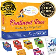 Continent Race Geography for Kids Card Game - Kids 7+ Award Winning - Learn Continents & Countries World Map, Educational Bo