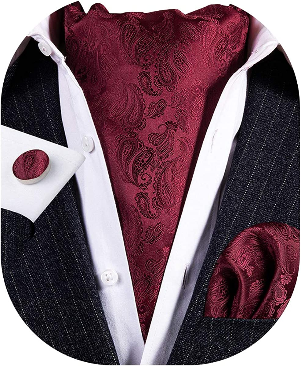 Men's Ascot Cravat Colorful Floral Paisley Jacquard Scarf Hanky Handkerchief Set