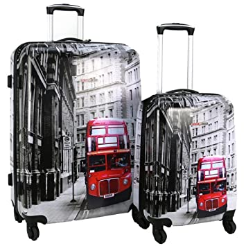 dae11242c Swiss Case 4 Wheel Spinner 2Pc Strong ABS Suitcase / Luggage Set London  Bus: Amazon.co.uk: Luggage