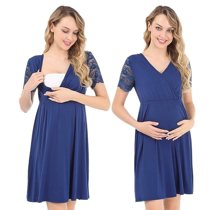 Pasithea Vestido de Maternidad para Mujeres Vestido de Lactancia Vestido de Lactancia Materna Embarazada Azul Oscuro