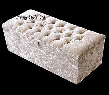 LARGE CRUSHED VELVET OTTOMAN BOX STOOL SEAT TOY STORAGE BLANKET BOX CREAM