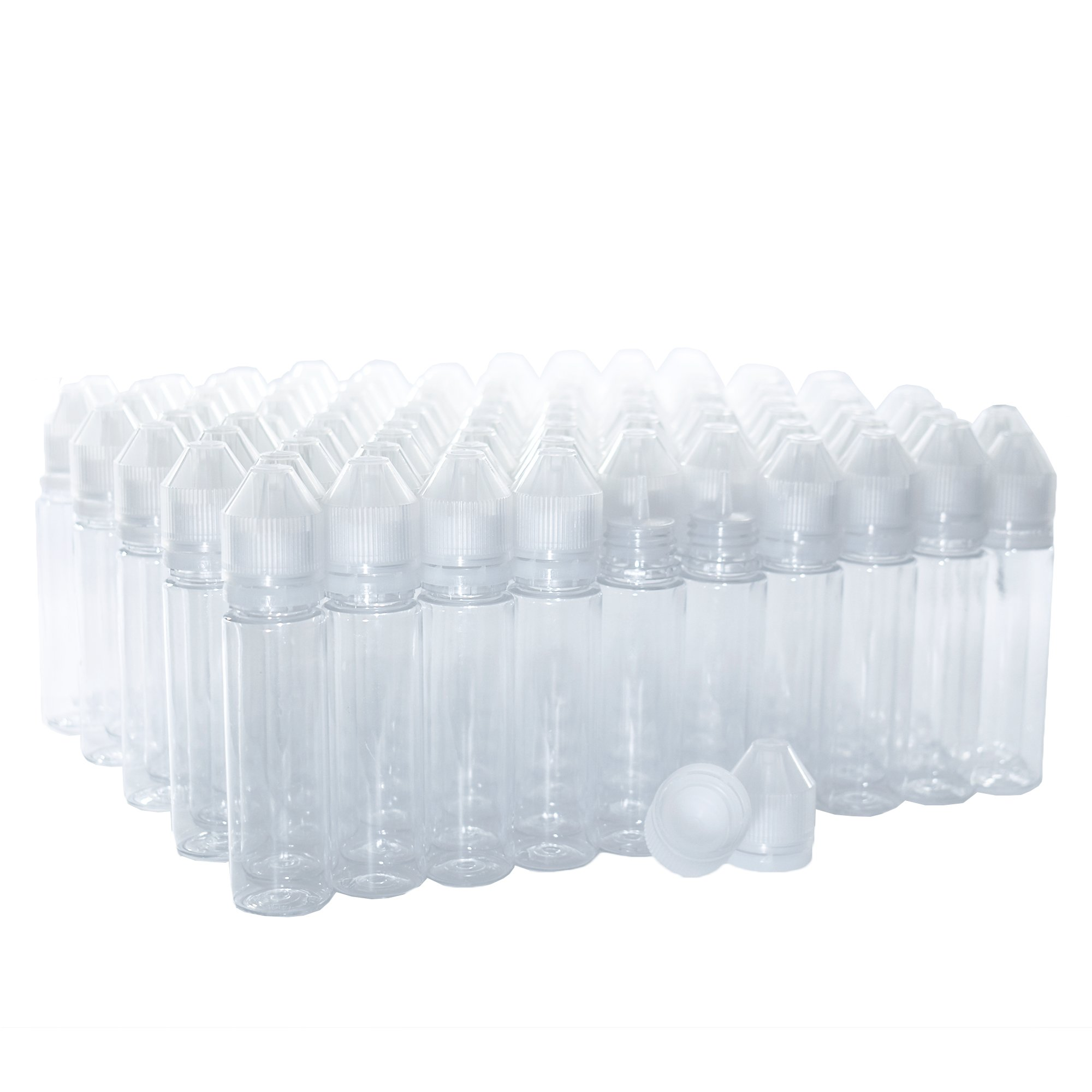 (100 Pack) 60 ML Clear V3.0 Unicorn Bottle with FINE TIP and Natural CRC Tamper EVIDENT Cap (PET) (24/400)