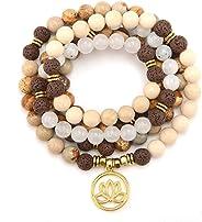 M&B Premium 8mm Mala Beads Bracelet Necklace Combo - 108 Mala Prayer Beads - Yoga Necklace - Zen Jewelry