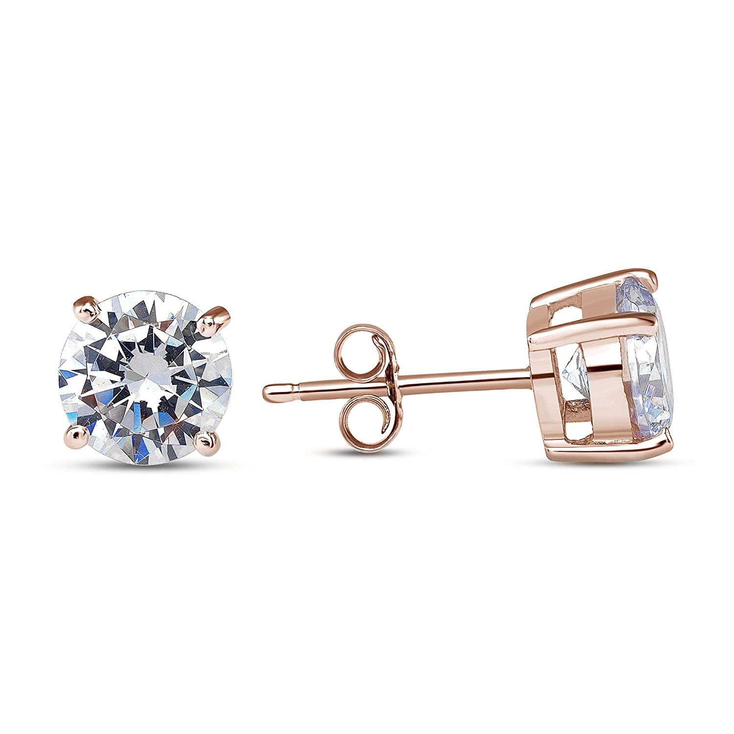 D Jewelry 925 Sterling Silver Round Solitaire Cz Push Back Stud Earrings Rose Gold Plated