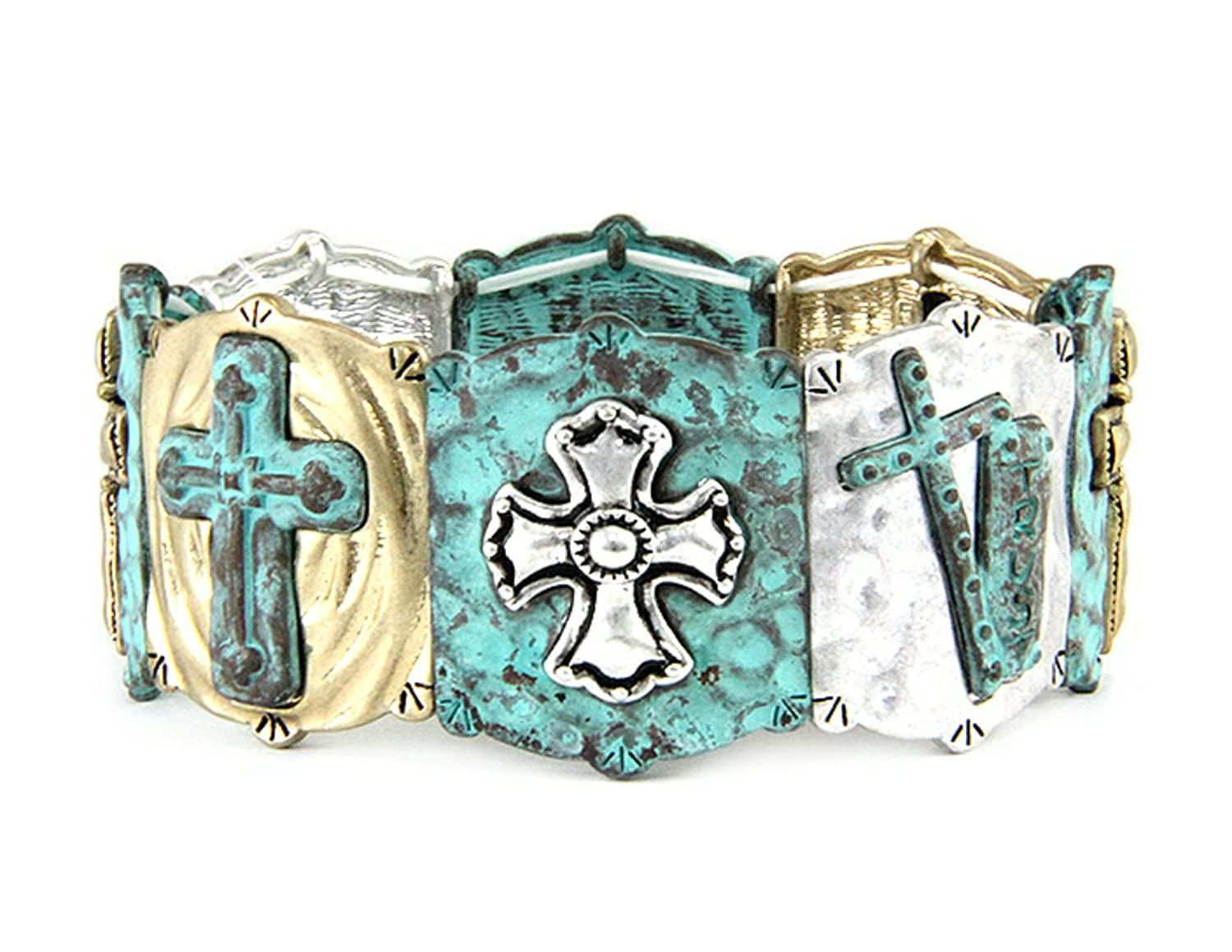 """Rustic Cross"" Religious Inspirational Engraved Hammered Tri-tone Stretch Bracelet By Athena Brand"