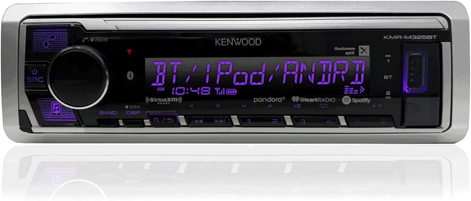 360-Watt Amplifier Kenwood KMR-D365BT Marine Boat Radio Stereo CD Player Receiver Bundle Combo with 4X JVC CS-DR6201MW 6.5 2-Way Coaxial Speakers 50 Foot 16g Speaker Wire Enrock Radio Antenna