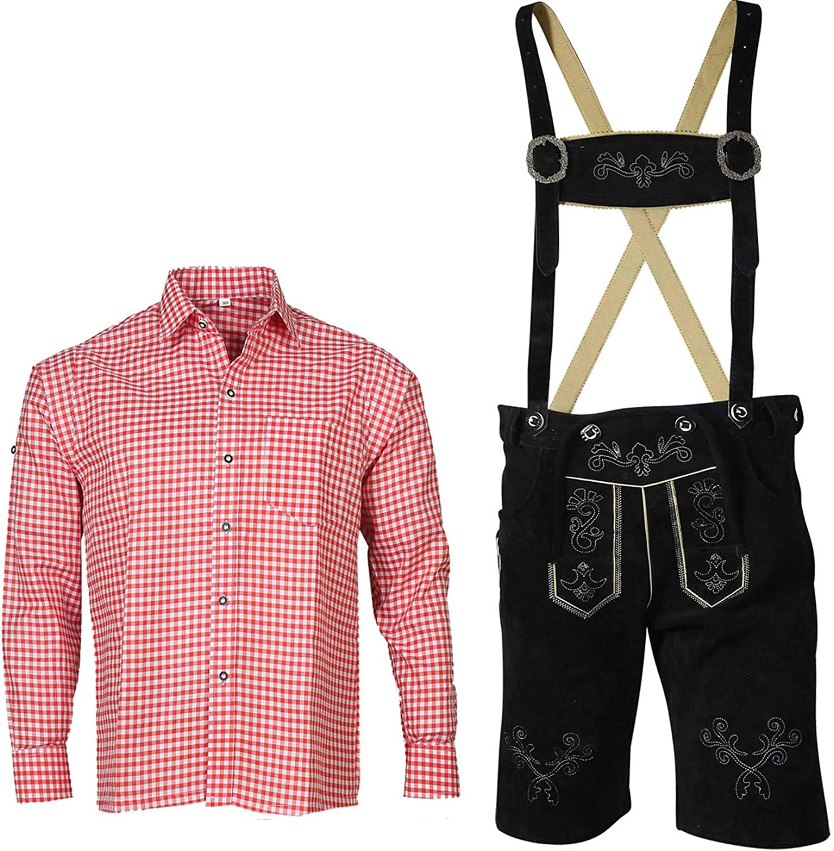 Traje regional para hombre con tirantes + camisa bávaro (pantalón + camisa) SKR01: Amazon.es: Ropa y accesorios