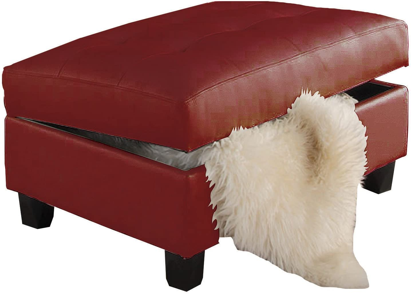 ACME Red Bonded Leather Ottoman with Storage