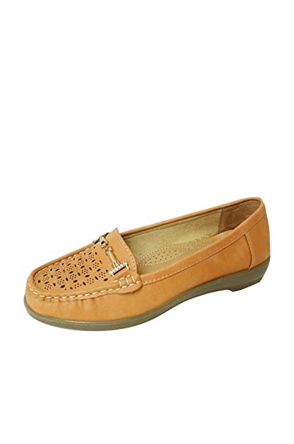Moccasin Loafers for Women Casual Slip On Flats Walking Shoes (Vivi-02) Camel