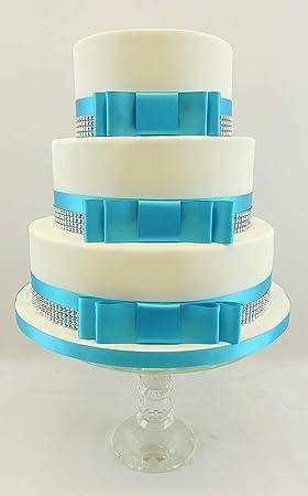 Gâteau De Mariage Lot De Nœud Satiné Turquoise Rubanargenté