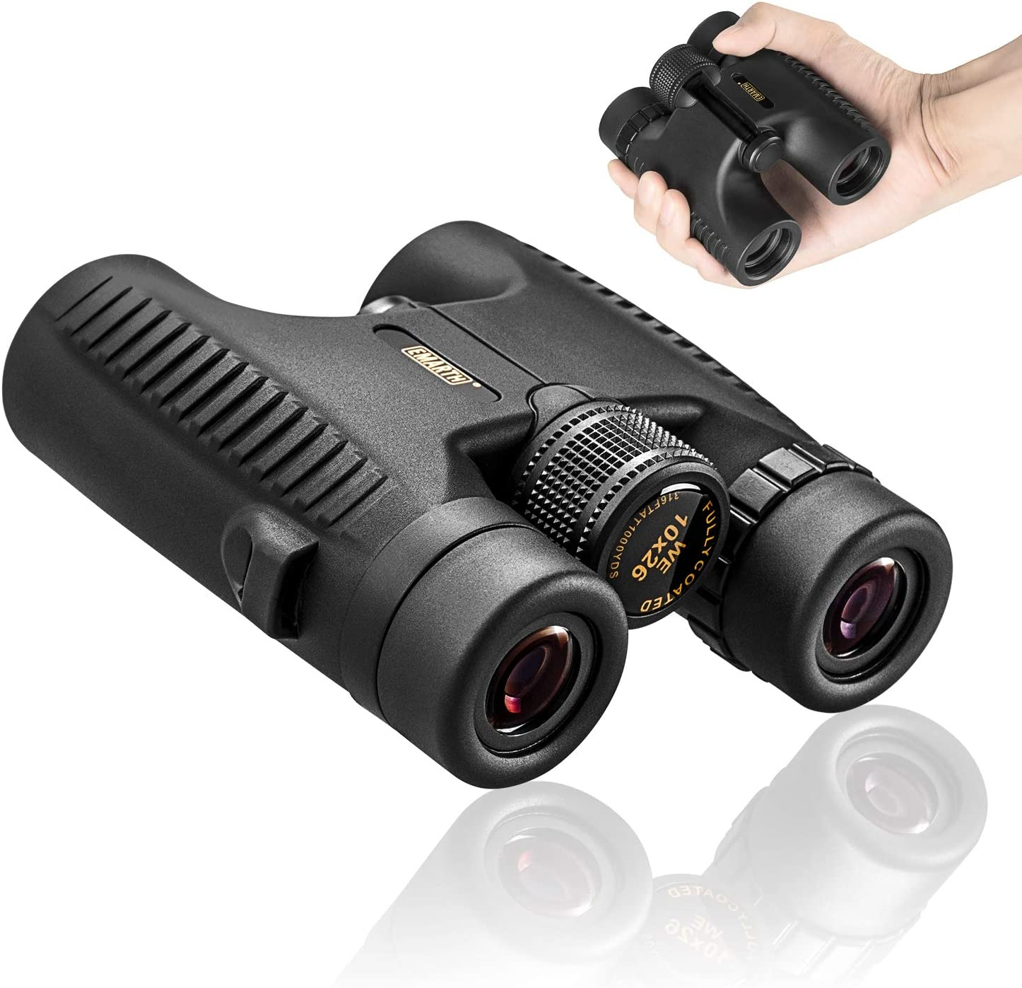 BEDOHAVE Adults 10×26 Folding Compact Mini Zoom Binoculars Lightweight Black Telescope for Bird Watching
