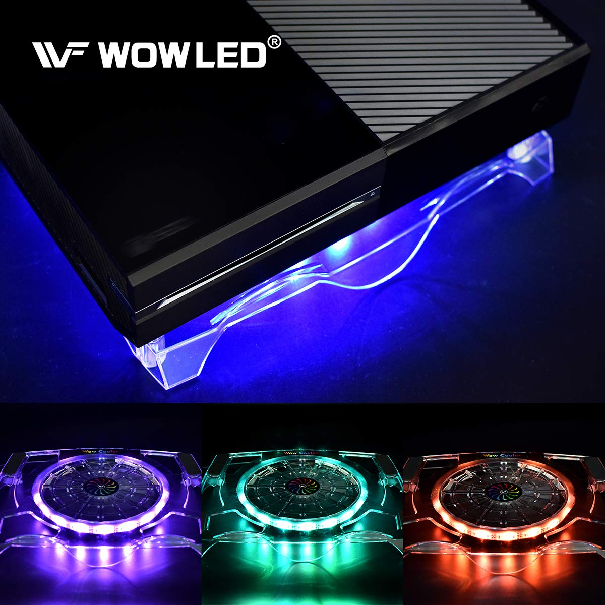 WOWLED Upgrade Sturdy LED Cooling Cooler Fan 3-Key Mini Controller PS4 Accessories Pro Cooling Fan, Xbox One X 360 Playstation 4 Sony Game Console PC, All-in-One USB RGB LED Fan Pad Stand Coolers by WOWLED (Image #1)
