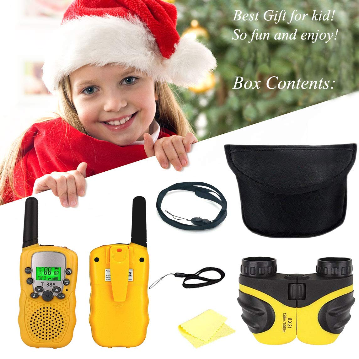 XIYITOY Best Gifts for Kid,Gifts for Girl 4-8 Year Old, Walkie Talkies Toys for Children with Built in Flash Light, 8 X 21 Kids Binoculars for Children,Cool Toys for 4-5 Year Old Boys,1 Parir(Yellow) by XIYITOY (Image #5)