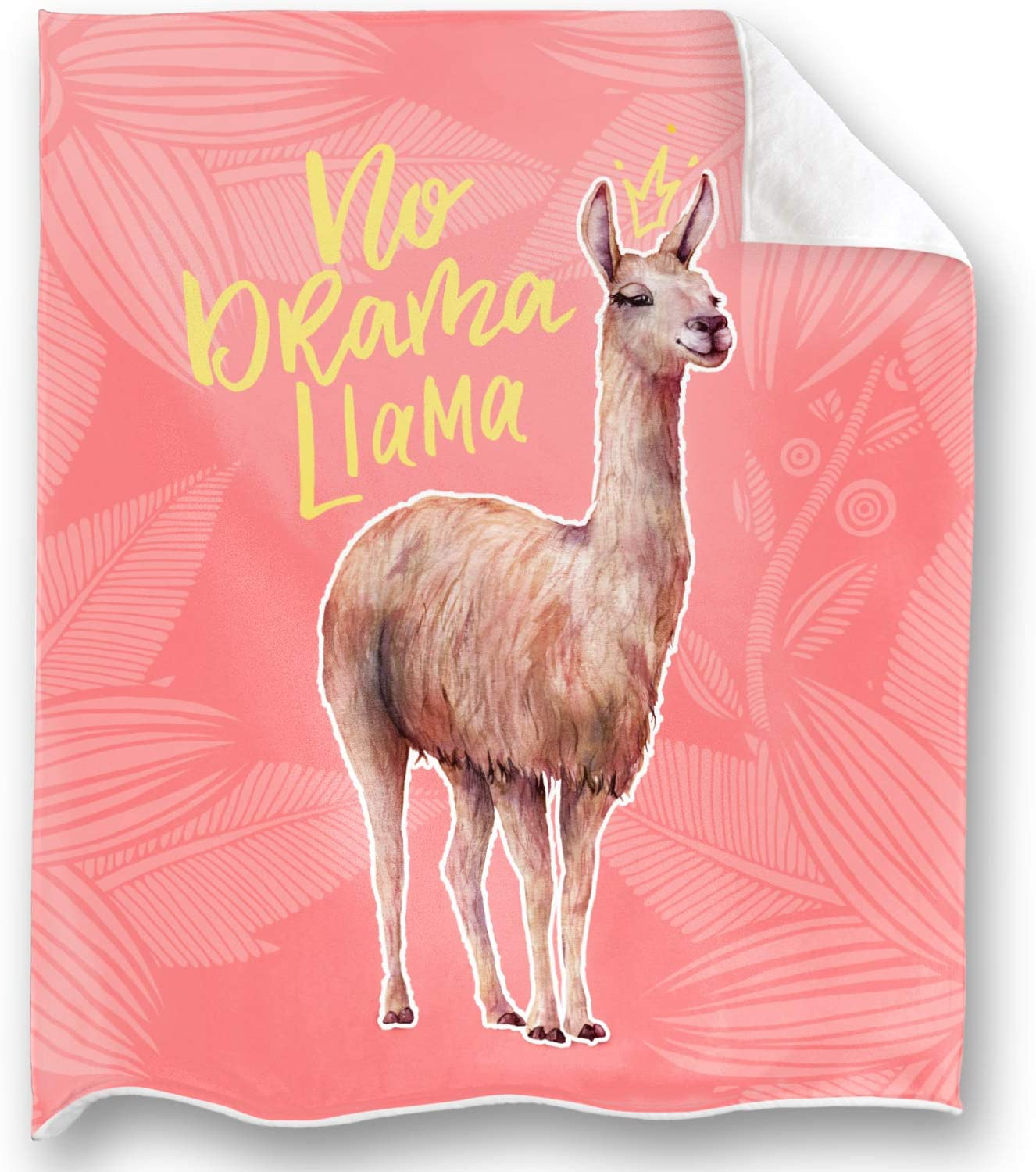 Loong Design Pink Llama Throw Blanket Super Soft, Fluffy, Premium Sherpa Fleece Blanket 50'' x 60'' Fit for Sofa Chair Bed Office Travelling Camping Gift