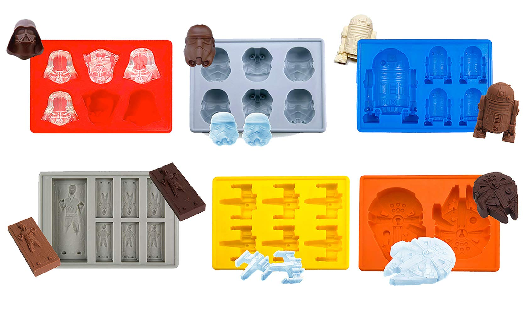 Star Wars Silicone Ice Trays/Chocolate Molds, Set of 6 by Kiwifun (Image #1)