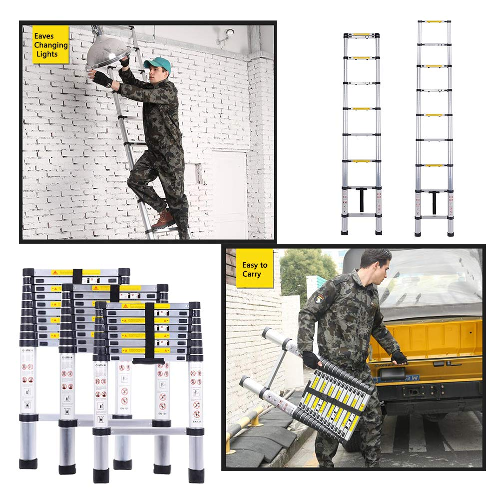 Telescopic Ladder Aluminum Extension Ladder with an Inward Sliding Latch with EN131 Certified 330 lbs Capacity 4.1M//13.5Ft