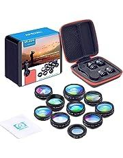 Apexel 10 in 1 Telecamera Kit Obiettivo Lente grandangolare, Obiettivo Macro, fisheye, caleidoscopio, CPL/Flow/Star/Filtro Radiale Clip-on Telefono per iPhone Samsung Smartphone Android