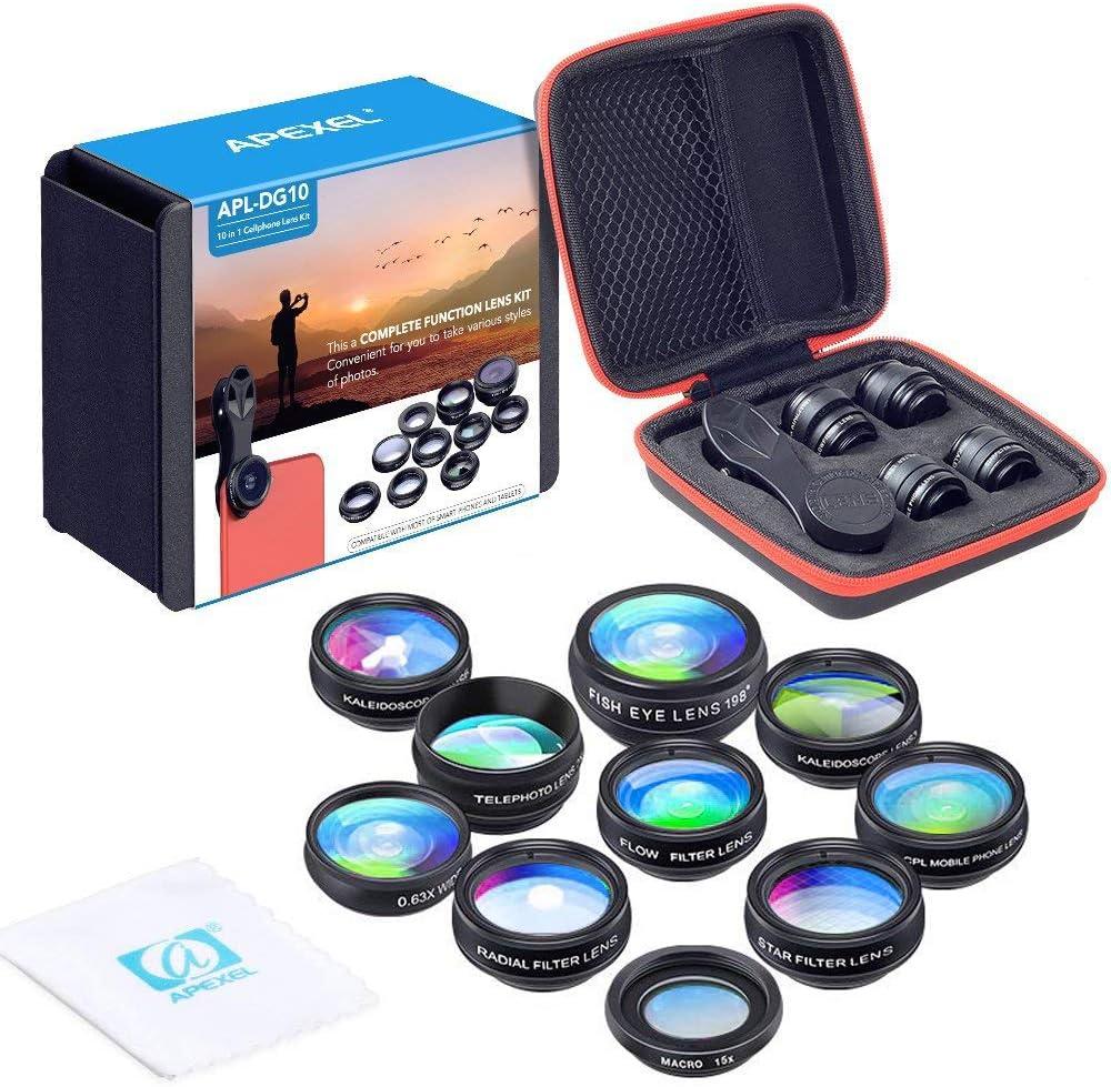 Apexel 10 en 1 Teléfono Kit de Lentes para cámaras Objetivo Gran Angular,Macro, Ojo de pez,Telefoto, Lente Kaleidoscops,CPL/Flujo/Estrella/Radial Filtro Teléfono Clip para iPhone Smartphones