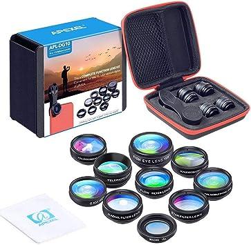 Apexel 10 en 1 Teléfono Kit de Lentes para cámaras Objetivo Gran Angular,Macro, Ojo de pez,Telefoto, Lente Kaleidoscops,CPL/Flujo/Estrella/Radial Filtro Teléfono Clip para iPhone Smartphones: Amazon.es: Electrónica