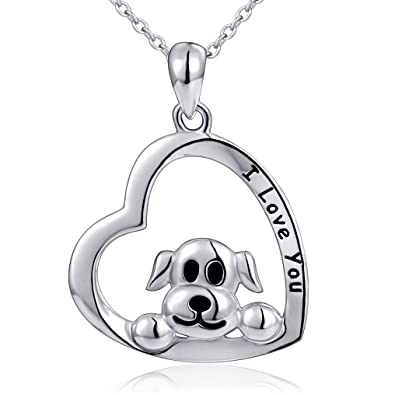 Amazon mom gifts 925 sterling silver i love you heart dog mom gifts 925 sterling silver i love you heart dog pendant necklace for women 18quot aloadofball Image collections