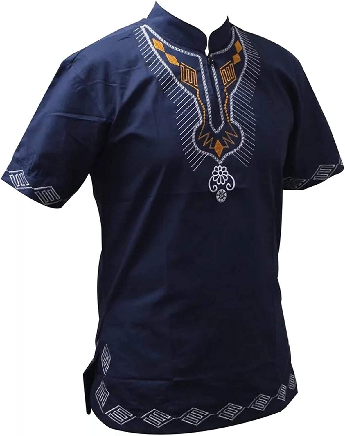 Welhore Fashion Men and Women African Embroidery Short Sleeve Dashiki T-Shirt Traditional Floral Blouse