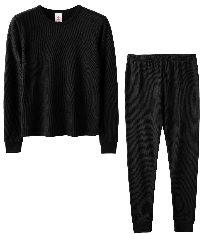 LAPASA Boys Thermal Underwear Long John Set Winter Base Layer Top and Bottom B03 (S(Height 115-125cm), Black (Waffle Knit)) by LAPASA