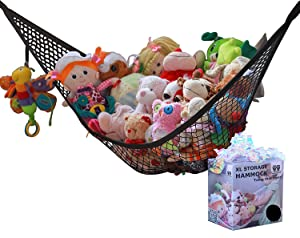 MiniOwls Toy Storage Hammock - Black Décor Strong Elastic Teddy Bear Organizer (Black, Large)